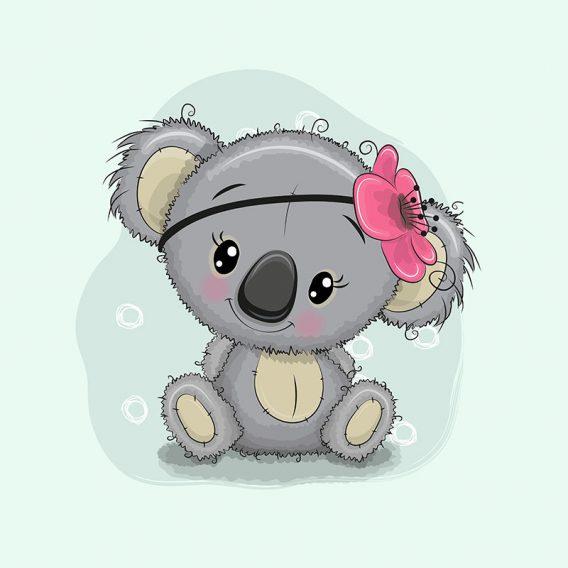1 Sommersweat / French Terry Panel – medium, 40x50cm – Koalabär mit Blume als Masche und Kringel auf mint – grau pink rosa – Einzelmotiv – Ökotex