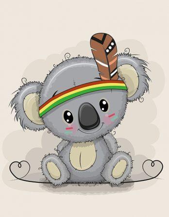 1 Sommersweat / French Terry Panel - medium, 40x50cm - Koalabär mit Indianerfeder und Herzen auf beige - Indianer Feder mit grau braun - Einzelmotiv - Ökotex