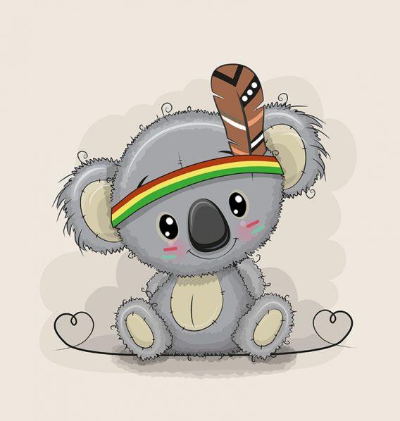 1 Sommersweat / French Terry Panel – medium, 40x50cm – Koalabär mit Indianerfeder und Herzen auf beige – Indianer Feder mit grau braun – Einzelmotiv – Ökotex