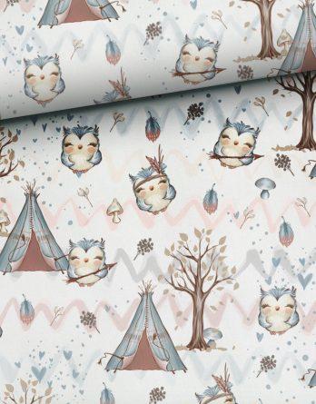 rm8sKMSGn7xaAsulCiLW 348x445 - 1 Sommersweat / French Terry Panel (small, 32x40cm) Waldfreunde - Fuchs Rehe Eule Eichhörnchen - beige rosa blau braun - Einzelmotiv Ökotex