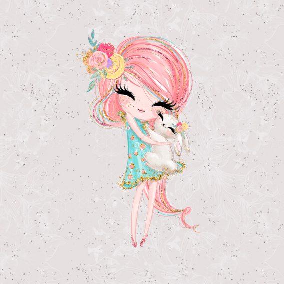 1 Sommersweat / French Terry Panel (40x50cm) - süßes Mädchen mit Häschen und niedlichem Blumenschmuck auf hellgrau - dezente Blumen und Punkte im Hintergrund - rosa pink gold mint - Einzelmotiv - Ökotex