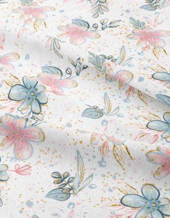 0,5m Sommersweat French Terry - Kombistoff Blumen zum Panel Elefantenliebe - 165cm breit - rosa blau türkis gold - Kinderstoff für Mädchen - Ökotex - Digital