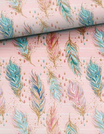 0,5m Sommersweat French Terry - wunderschöne Federn auf rosa - 165cm breit - rosa mint blau türkis gold - Ökotex - Digital