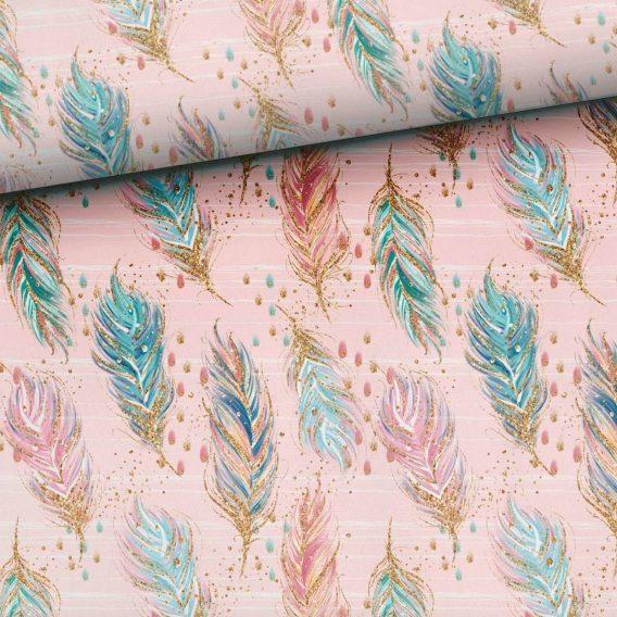 0,5m Sommersweat French Terry – wunderschöne Boho Federn auf rosa – ca. 165cm breit – rosa mint blau türkis gold – Ökotex – Digital