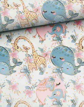 0,5m Sommersweat French Terry - Kombistoff Elefantenliebe + Giraffenliebe = Familienliebe - 165cm breit - rosa blau türkis braun gold - Kinderstoff für Mädchen - Ökotex - Digital