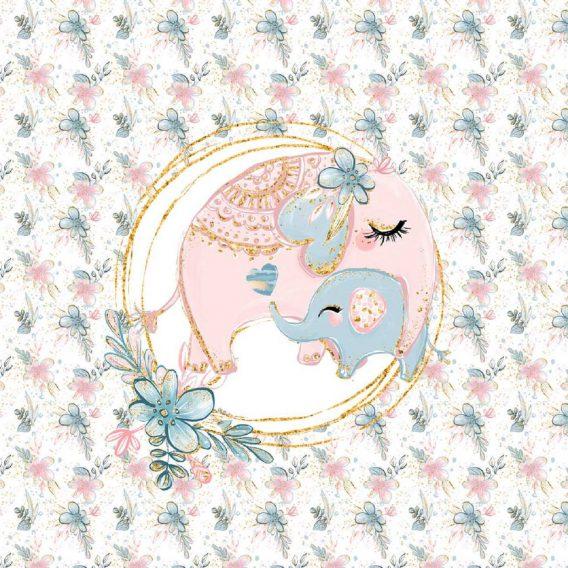 1 Sommersweat / French Terry Panel (40x50cm) Elefantenliebe - süße Elefanten-Mama mit Baby - mit Herz, Blumen und Punkte - rosa blau türkis gold - Kinderstoff für Mädchen - Einzelmotiv - Ökotex