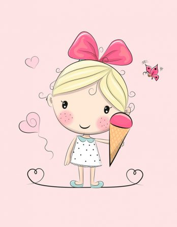 1 Sommersweat / French Terry Panel (40x50cm) - süßes Mädchen auf rosa mit köstlichem Eis Herzen und Schmetterlingen - rosa pink gelb mint - Einzelmotiv - Ökotex