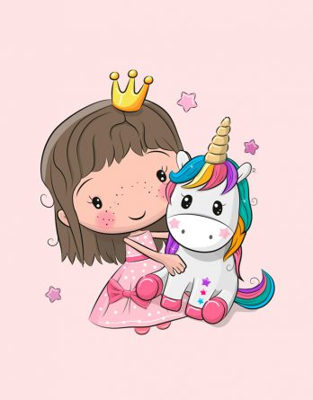 1 Sommersweat / French Terry Panel (40x50cm) - süße Prinzessin mit Einhorn und Sterne - Mädchen auf rosa - rosa lila pink gelb türkis mint - Einzelmotiv - Ökotex