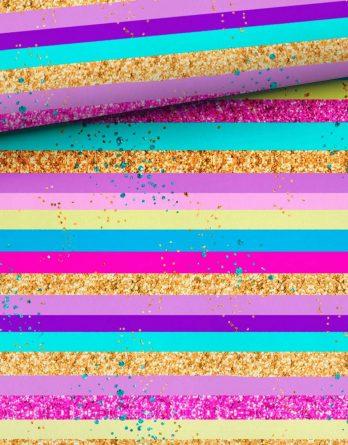 0,5m Sommersweat / French Terry – Kombistoff mit Glitzer, Streifen und Punkte – Elfensommer – ca. 165cm breit – Ökotex – Digital