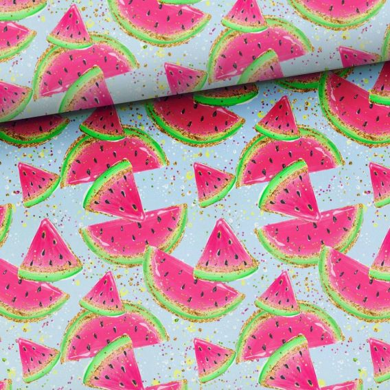 0,5m Sommersweat / French Terry - süße Melonen auf blau - Kinderstoff für Mädchen - ca. 165cm breit - pink neon grün gold gelb - Digital - Meterware - Ökotex
