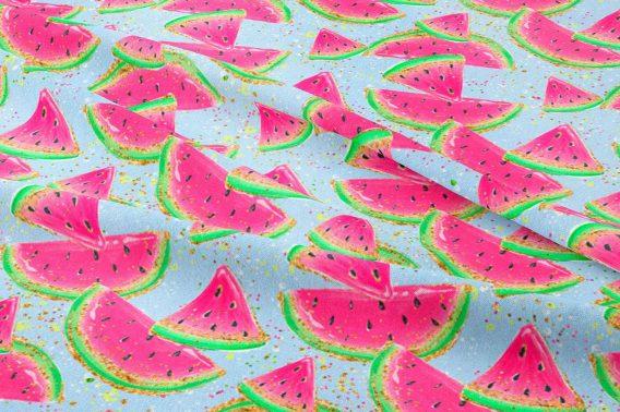v FT watermelons on blue 568x378 - 0,5m Sommersweat / French Terry - süße Melonen auf blau - Kinderstoff für Mädchen - ca. 165cm breit - pink neon grün gold gelb - Digital - Meterware - Ökotex