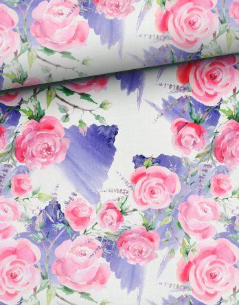 0,5m Baumwolljersey Rosen und Lavendel auf weiß - ca. 180 cm breit - lila rosa pink grün - Ökotex