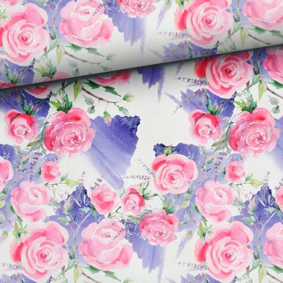 0,5m Baumwolljersey Rosen und Lavendel auf weiß – ca. 180 cm breit – lila rosa pink grün – Ökotex