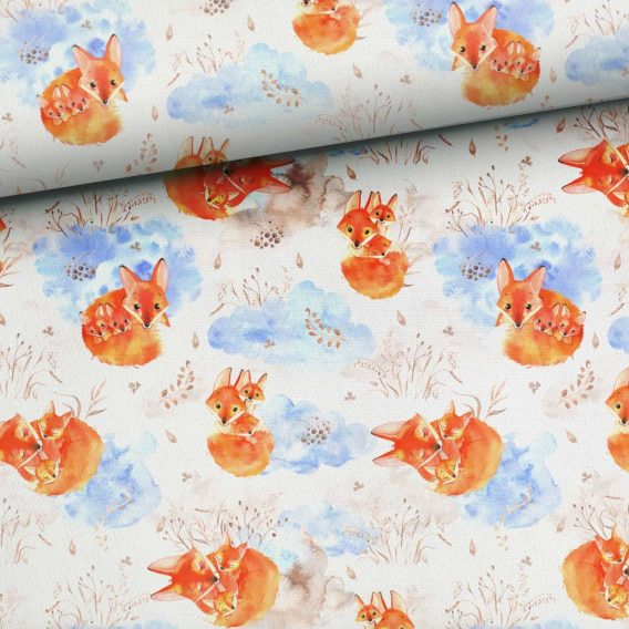 2owunpGPLHzSdCMgq8Cs 568x568 - 0,44m Sommersweat (Endstück) - French Terry - Kombistoff Fuchsfamilie | Mama und Baby Fuchs auf weiß / beige - ca. 165cm breit - beige braun orange blau - Digital - Ökotex