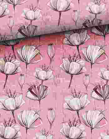 0,5m Sommersweat – French Terry – Blütenblätter und Knospen auf rosa mit lila – ca. 165cm breit – Ökotex – Digital