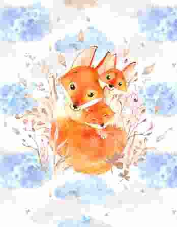 1 Sommersweat / French Terry Panel – Fuchsfamilie | Mama und Baby Fuchs auf weiß / beige – medium / 40x50cm – beige blau braun orange – Digital – Einzelmotiv – Ökotex