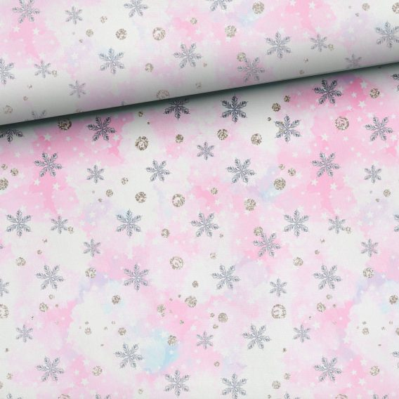 0c3IWhuH1gGvfNyrPklW 568x568 - 0,5m Kombistoff zum Panel Happy Snow - Schneeflocken auf weiß / beige / rosa - Ganzjahressweat / Sommersweat / French Terry - ca. 165cm breit - rosa silber grau - Kinderstoff für Mädchen - Digital - Ökotex