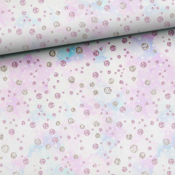 0,5m Kombistoff zum Panel Happy Snow | Schnee / Punkte und Sterne auf weiß / beige | Ganzjahressweat – Sommersweat – French Terry | ca. 165cm breit | rosa lila blau silber grau | Kinderstoff für Mädchen | Digital – Ökotex
