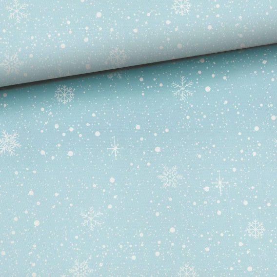 0,5m Kombistoff zu den Bärenliebe Panels – Schneeflocken und Punkte auf blau – Ganzjahressweat / Sommersweat / French Terry – ca. 165cm breit – Kinderstoff für Mädchen und Jungs – Digital – Ökotex