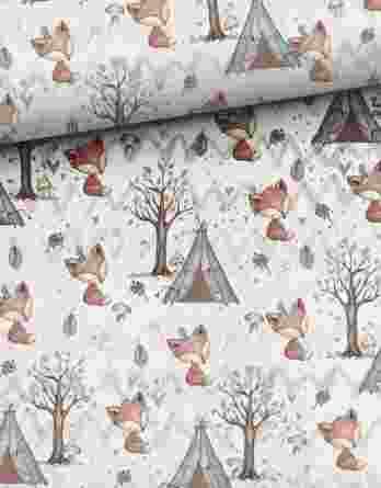 1yhjfXaEpTVjvXkC3ZfJ 348x445 - 1 Sommersweat / French Terry Panel Waldfreunde - medium / 40x50cm - Eichhörnchen als Indianer - beige rosa blau brau - Einzelmotiv Ökotex