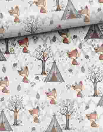 1yhjfXaEpTVjvXkC3ZfJ 348x445 - 1 Sommersweat / French Terry Panel (small, 32x40cm) Waldfreunde - Fuchs Rehe Eule Eichhörnchen - beige rosa blau braun - Einzelmotiv Ökotex