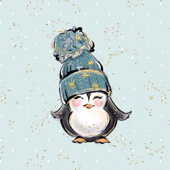 1 süßes Panel der Eisliebe Serie – Pinguin mit Mütze auf mint mit goldenen und weißen Punkten – Sommersweat / French Terry / Ganzjahressweat – ca. 40x50cm – Digital – Ökotex