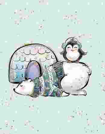1 süßes Panel der Eisliebe Serie – Eisbär, Pinguin und Iglo auf mint mit goldenen und weißen Punkten – Sommersweat / French Terry / Ganzjahressweat – ca. 40x50cm – Digital – Ökotex