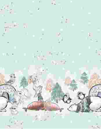 0,65m Bordüren-Kombistoff zu den Eisliebe Panels – Punkte in weiß und gold auf mint – vorgeschnitten auf ca. 66x165cm – Ganzjahressweat / Sommersweat / French Terry – Kinderstoff für Mädchen und Jungs – Digital – Ökotex