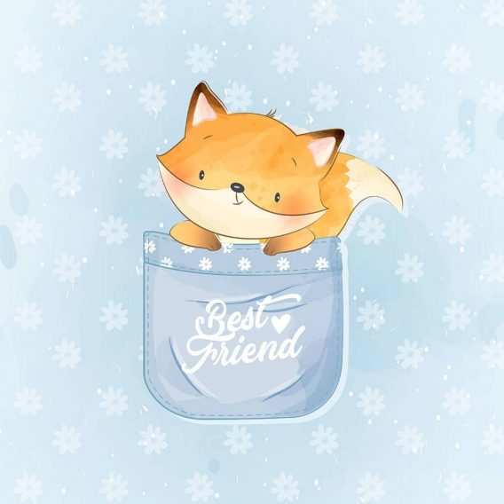 1 Sommersweat / French Terry Panel (40x50cm) – süßer Fuchs in einer Tasse auf blau – Digital – Ökotex