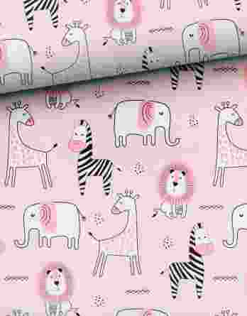 0,5m Sommersweat French Terry mit süßen Tiere – Elefanten, Zebras, Elefanten und Löwen auf rosa – ca. 165cm breit – mit pink und schwarz – Digital – Ökotex