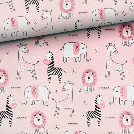 L5DDPcq0Y2atvnuwI65n 568x568 - 0,5m Sommersweat French Terry mit süßen Tiere - Elefanten, Zebras, Elefanten und Löwen auf rosa - ca. 165cm breit - mit pink und schwarz - Digital - Ökotex
