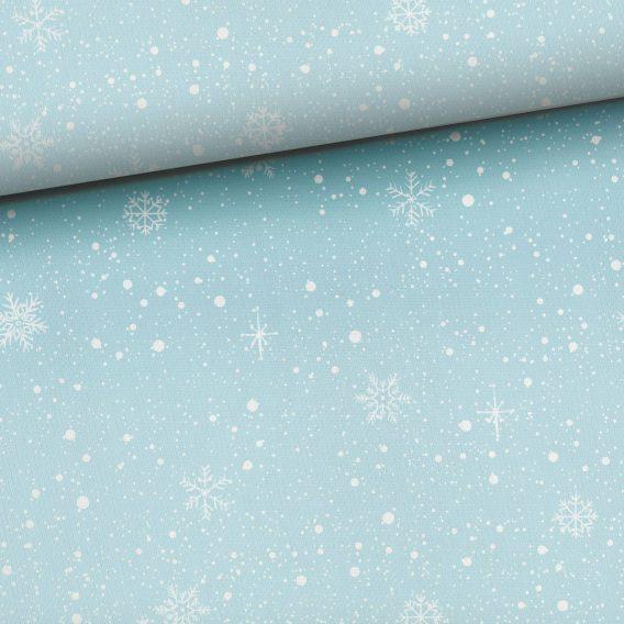 0,45m Kombistoff (Endstück) zu den Bärenliebe Panels – Schneeflocken und Punkte auf blau – Ganzjahressweat / Sommersweat / French Terry – ca. 165cm breit – Kinderstoff für Mädchen und Jungs – Digital – Ökotex