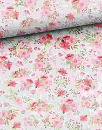 Y60V3shL4XbRpOecFY21 348x445 - 0,45m Sommersweat French Terry (Endstück) - Kombistoff Hasenliebe - süße Blumenarrangements auf rosa - mit rosa, pink und grün - ca. 165cm breit - Kinderstoff für Mädchen - Digital - Ökotex