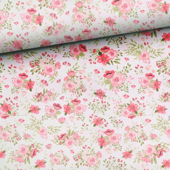 Y60V3shL4XbRpOecFY21 568x568 - 0,5m Sommersweat French Terry - Kombistoff Hasenliebe - süße Blumenarrangements auf rosa - mit rosa, pink und grün - ca. 165cm breit - Kinderstoff für Mädchen - Digital - Ökotex