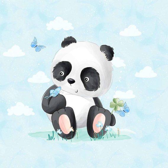 1 Sommersweat / French Terry Panel (40x50cm) – Pandabär mit Schmetterlingen und Kleeblatt auf blau – Digital – Ökotex