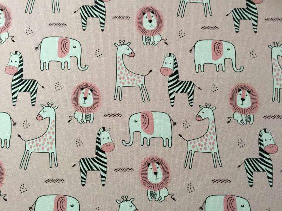 v IMG 2399 568x426 - 0,5m Sommersweat French Terry mit süßen Tiere - Elefanten, Zebras, Elefanten und Löwen auf rosa - ca. 165cm breit - mit pink und schwarz - Digital - Ökotex