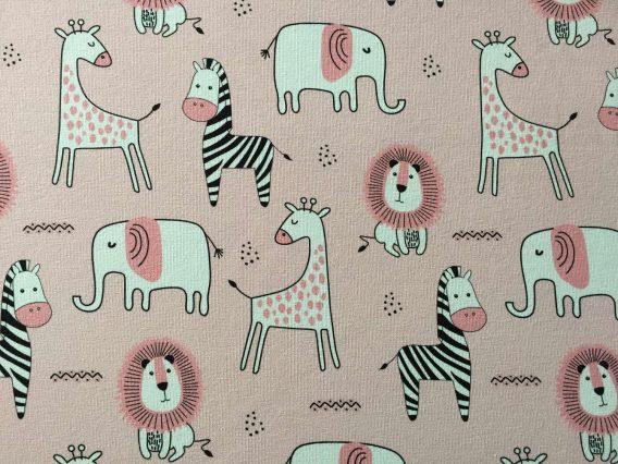 v IMG 2401 568x426 - 0,5m Sommersweat French Terry mit süßen Tiere - Elefanten, Zebras, Elefanten und Löwen auf rosa - ca. 165cm breit - mit pink und schwarz - Digital - Ökotex