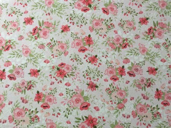 0,45m Sommersweat French Terry (Endstück) – Kombistoff Hasenliebe – süße Blumenarrangements auf rosa – mit rosa, pink und grün – ca. 165cm breit – Kinderstoff für Mädchen – Digital – Ökotex