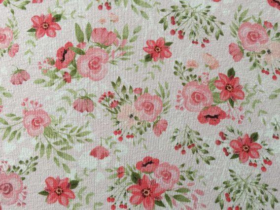 0,5m Sommersweat French Terry – Kombistoff Hasenliebe – süße Blumenarrangements auf rosa – mit rosa, pink und grün – ca. 165cm breit – Kinderstoff für Mädchen – Digital – Ökotex