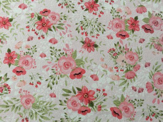 v IMG 2407 568x426 - 0,5m Sommersweat French Terry - Kombistoff Hasenliebe - süße Blumenarrangements auf rosa - mit rosa, pink und grün - ca. 165cm breit - Kinderstoff für Mädchen - Digital - Ökotex