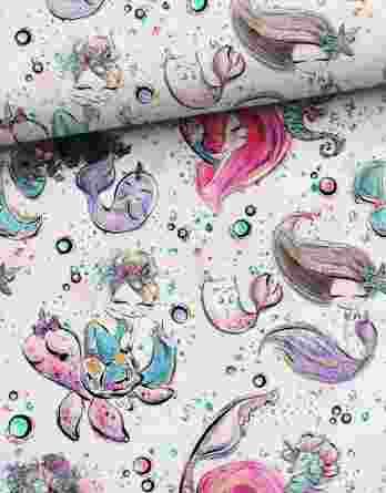 v mermaids friends 348x445 - Versand ab 4.2.20: 0,5m Sommersweat / French Terry Kombistoff - mit Nixe, Seepferdchen, Schildkröten, usw. - pink gold türkis rosa weiß - ca. 165cm breit - Digital - Ökotex