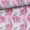 0,46m Sommersweat – French Terry – Kombistoff (Endstück) zum Panel Seepferdchen und Nixe / Mermaid / Mädchen – pink gold türkis rosa weiß – ca. 165cm breit – Digital – Ökotex