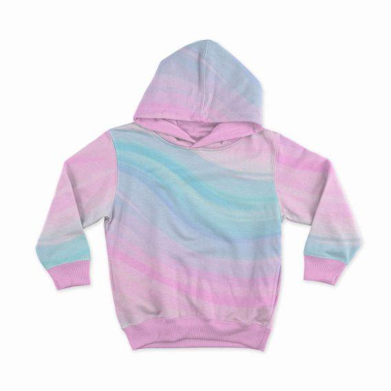 1 Ganzjahressweat / French Terry Panel (40x50cm) – Einhorn mit Schmetterling auf Regenbogen Farben – pink rosa blau – Einzelmotiv – Digital – Ökotex