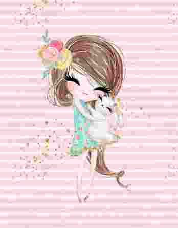 1 Sommersweat / French Terry Panel – Häschenliebe | Mädchen mit Häschen – mit Streifen in rosa weiß und goldenen Punkten – medium / ca. 40x50cm – Digital – Einzelmotiv – Ökotex