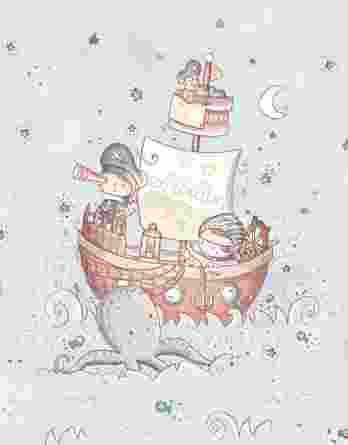 1 Sommersweat / French Terry Panel Seemannliebe | mit Seeleute, Boote, Papagei, Fische und Quallen – medium / ca. 40x50cm – blau braun gelb – Digital – Einzelmotiv – Ökotex
