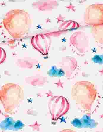 0,5m Premium Baumwollstoff mit Heißluftballons, Sterne, Wolken, Girlanden, usw. – ca. 150cm breit – 150 g/m2 – orange, blau, rosa, pink – Digital – Ökotex