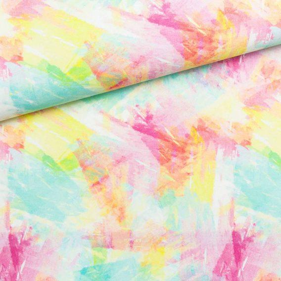 0,5m Premium Baumwollstoff in wunderschönen Aquarellfarben – ca. 150cm breit – 150 g/m2 – rosa, gelb, grün, türkis, pink – Digital – Ökotex