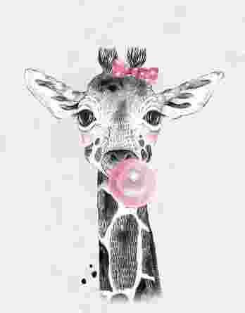 1 Sommersweat / French Terry Panel (40x50cm) – süße Giraffe mit Kaugummi und Masche auf hellgrau – mit rosa und pink – Einzelmotiv – Digital – Ökotex