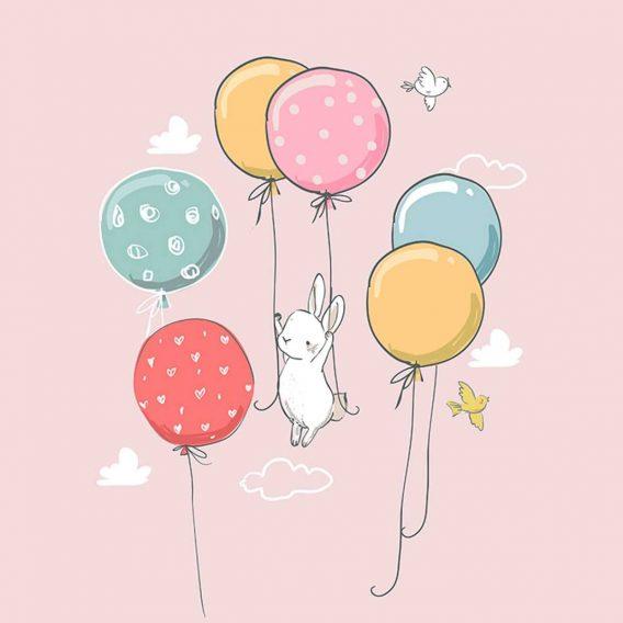 1 Sommersweat / French Terry Panel (40x50cm) – süßes Häschen mit Luftballons und Vögel auf rosa – Einzelmotiv – Digital – Ökotex