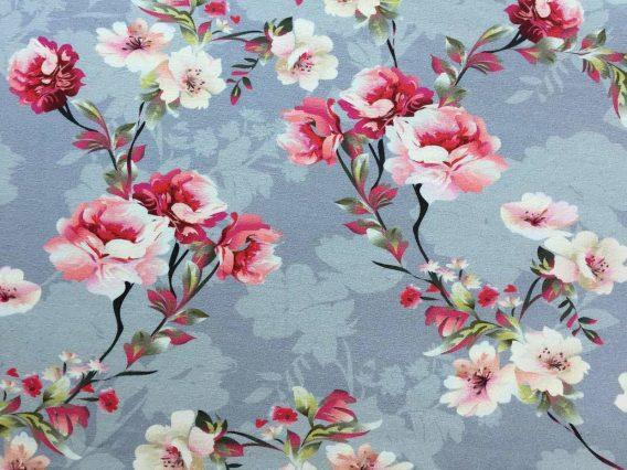 0,5 m Baumwolljersey mit wunderschönen Blumen und Blüten auf stahlgrau – ca. 170 cm – lachs rosa pink grün – Damen- und Kinderstoff für Mädchen / Sophie – Meterware – Digital – Ökotex